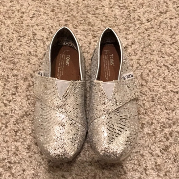 Toms Other - Kids toddler silver sparkle Toms shoes size 7